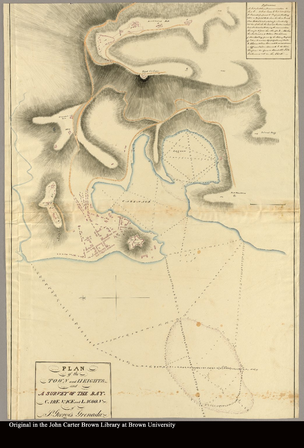 "Plan of the town and heights and a survey of the bay, carenage and lagoon of St. George's Grenada. 1817 [accompanied by ""Remarks St. George's Bay Grenada""]"