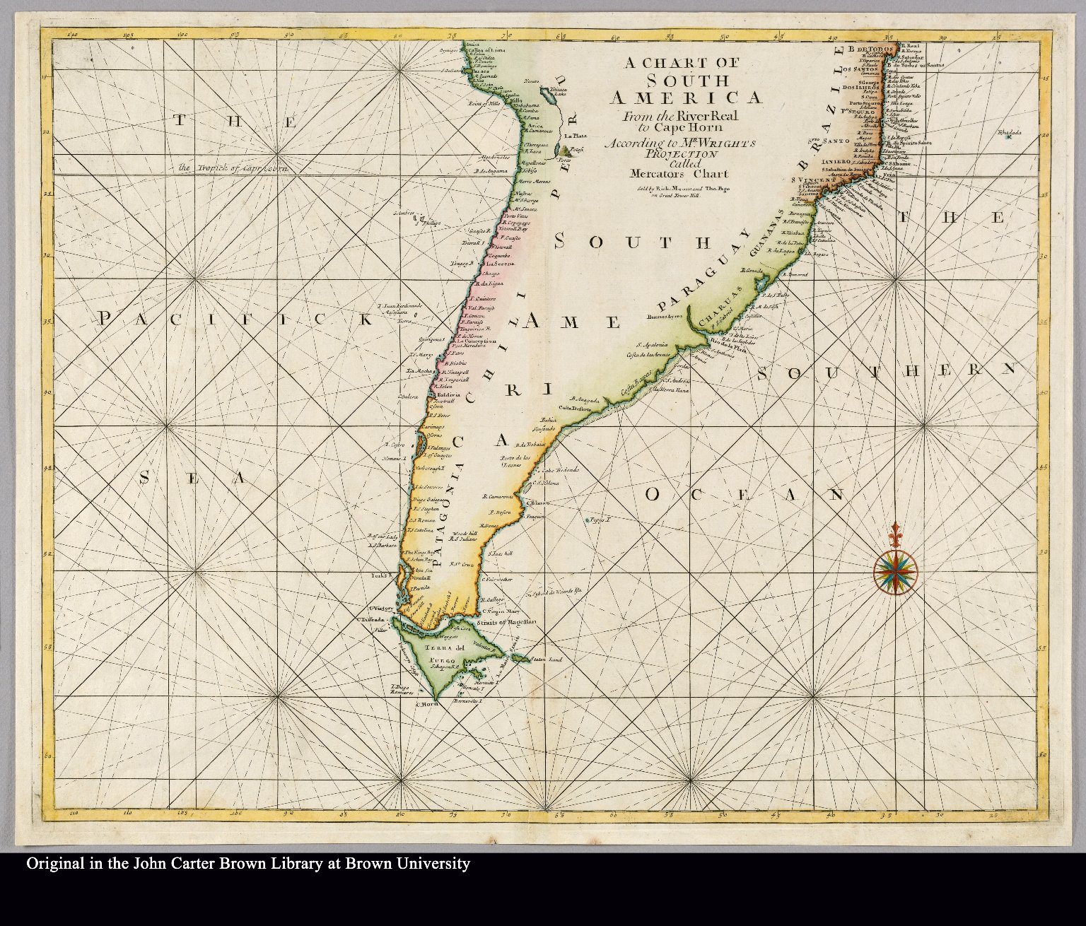 Cape Horn On South America Map.A Chart Of South America From The River Real To Cape Horn According