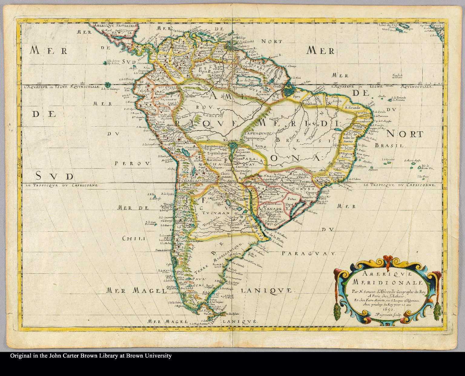 Amerique Meridionale par N. Sanson d'Abbeville, geographe du Roy