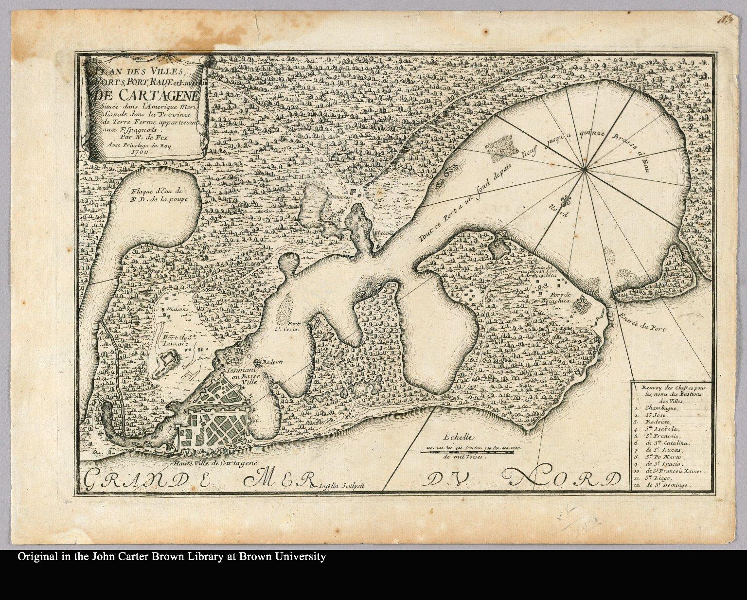 Plan des villes, forts, port, rade et environs de Cartagene située dans l'Amerique Meridionale dans la Province de Terre Ferme appartenant aux Espagnols