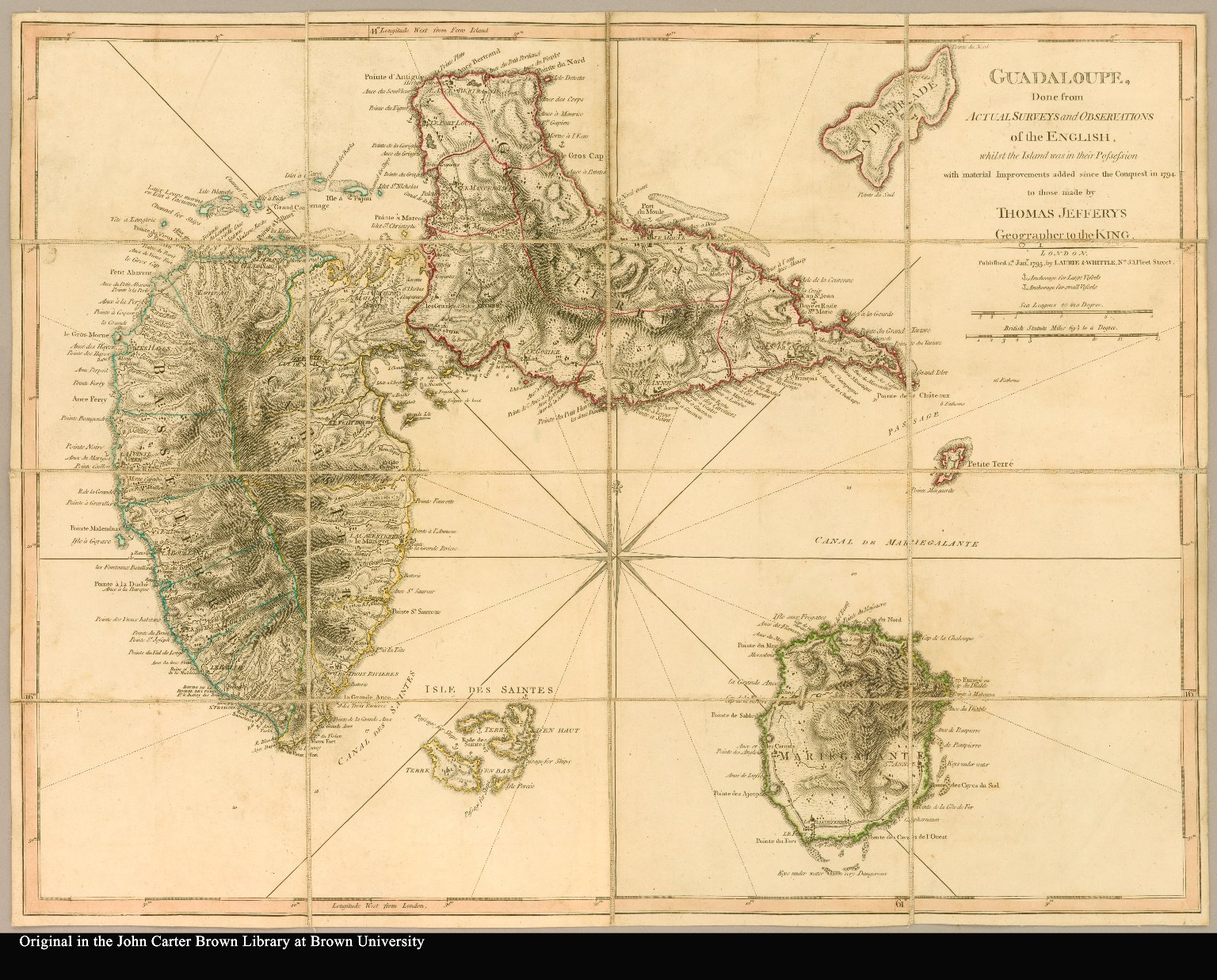 Guadaloupe, done from actual surveys and observations of the English, whilst the island was in their possession with material improvements added since the Conquest in 1794 to those made by Thomas Jefferys, Geographer to the King