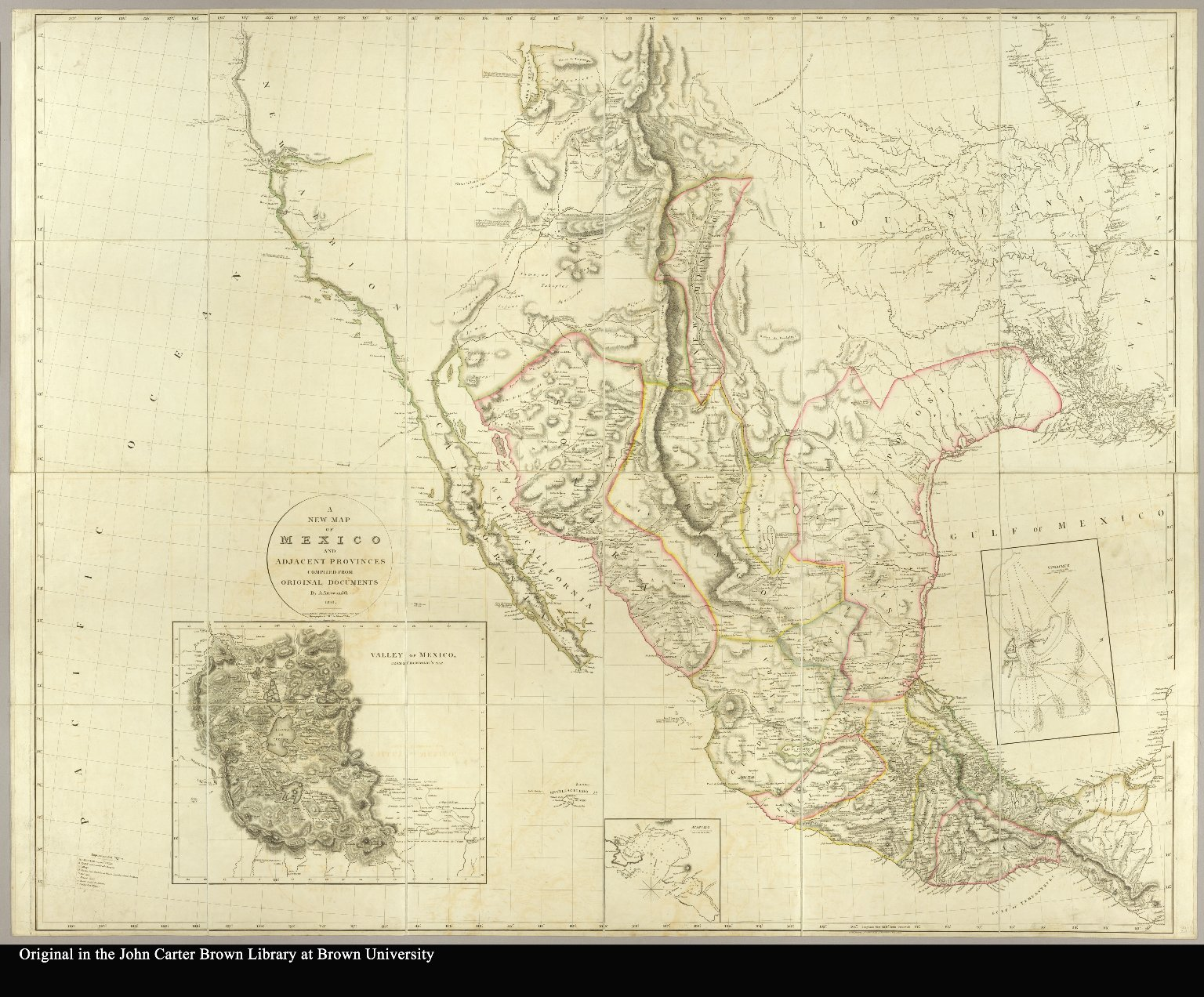 A New Map Of Mexico And Adjacent Provinces Compiled From Original