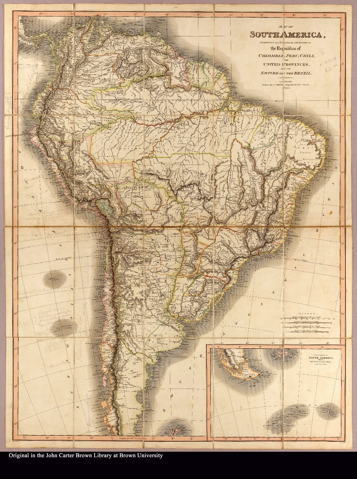 Map of South America, exhibiting the political divisions of the republics of Colombia, Peru, Chili, the United Provinces, and the empire of Brazil