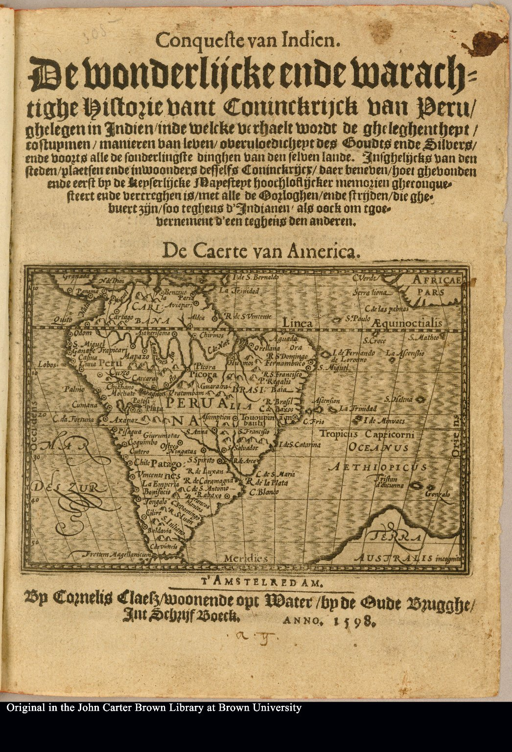 [Title page] De Caerte van America