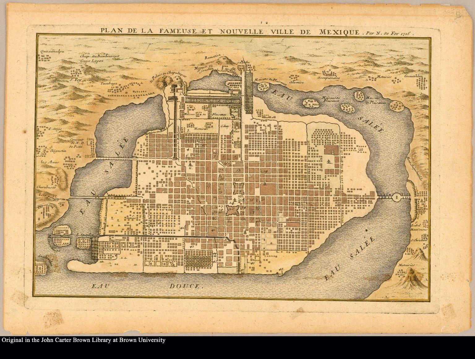 Plan de la fameuse et nouvelle ville de Mexique par N. de Fer 1715