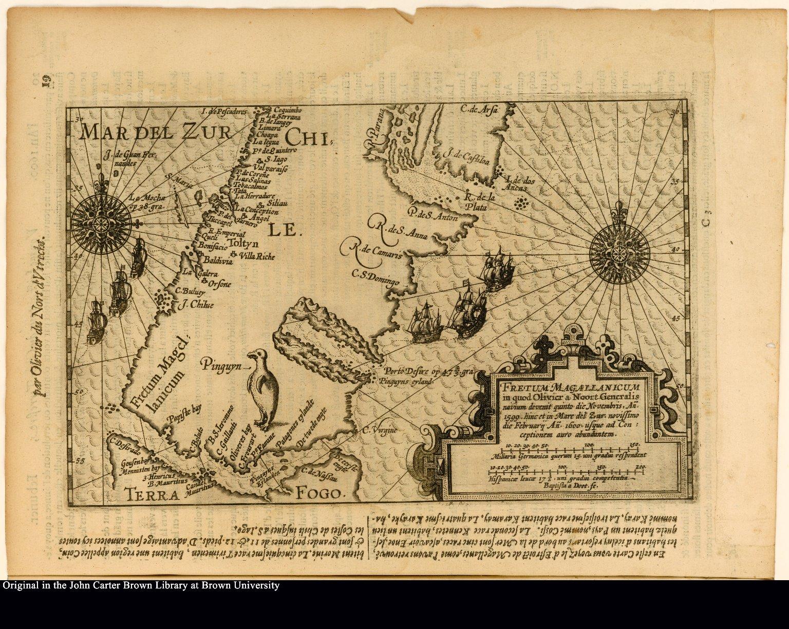 Fretum Magallanicum in quod Olivier a Noort Generalis naium devenit quinto di Novembris Ano 1599.