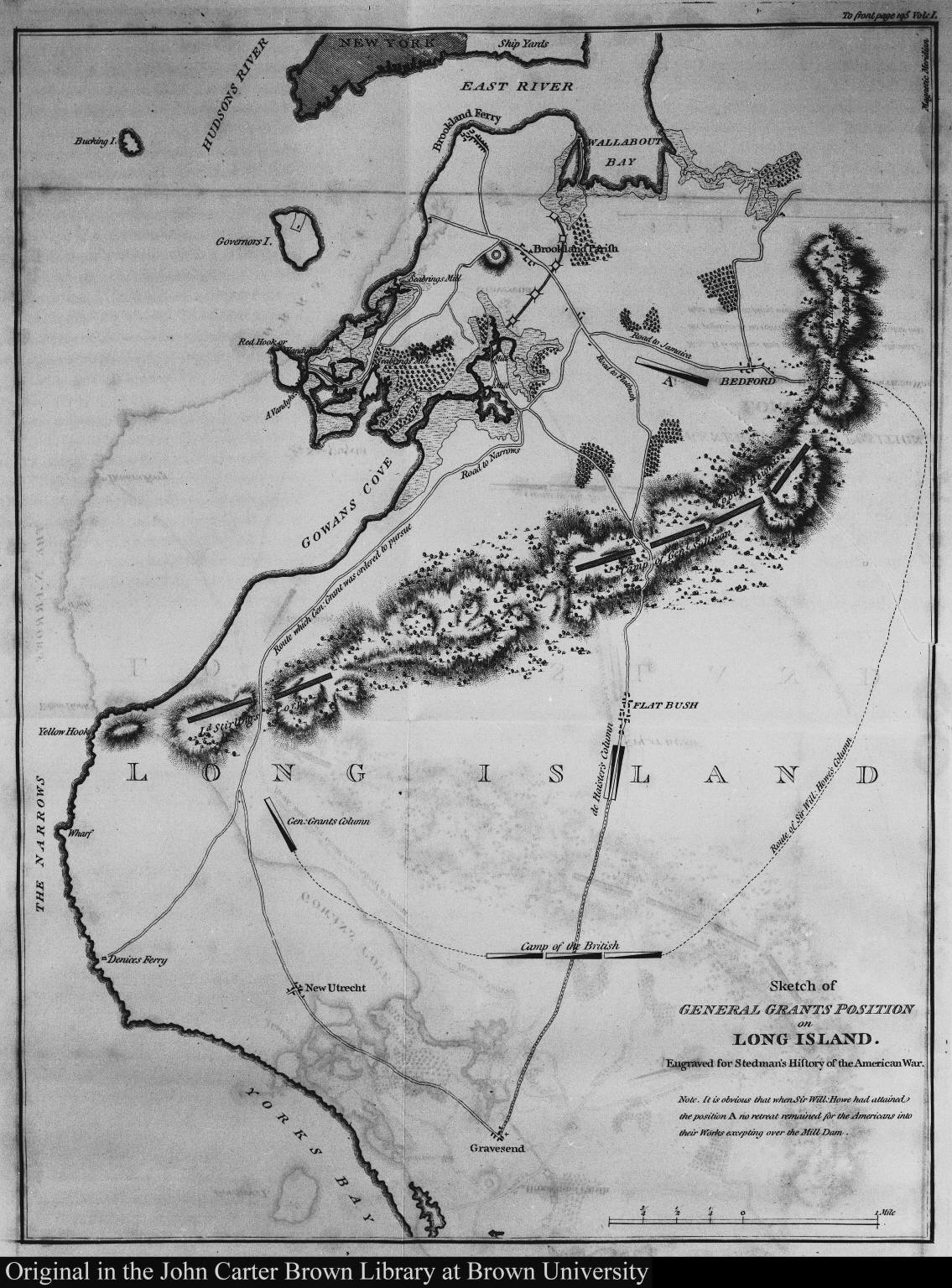 Sketch of General Grants position on Long Island. Engraved for Stedman's History of the American War