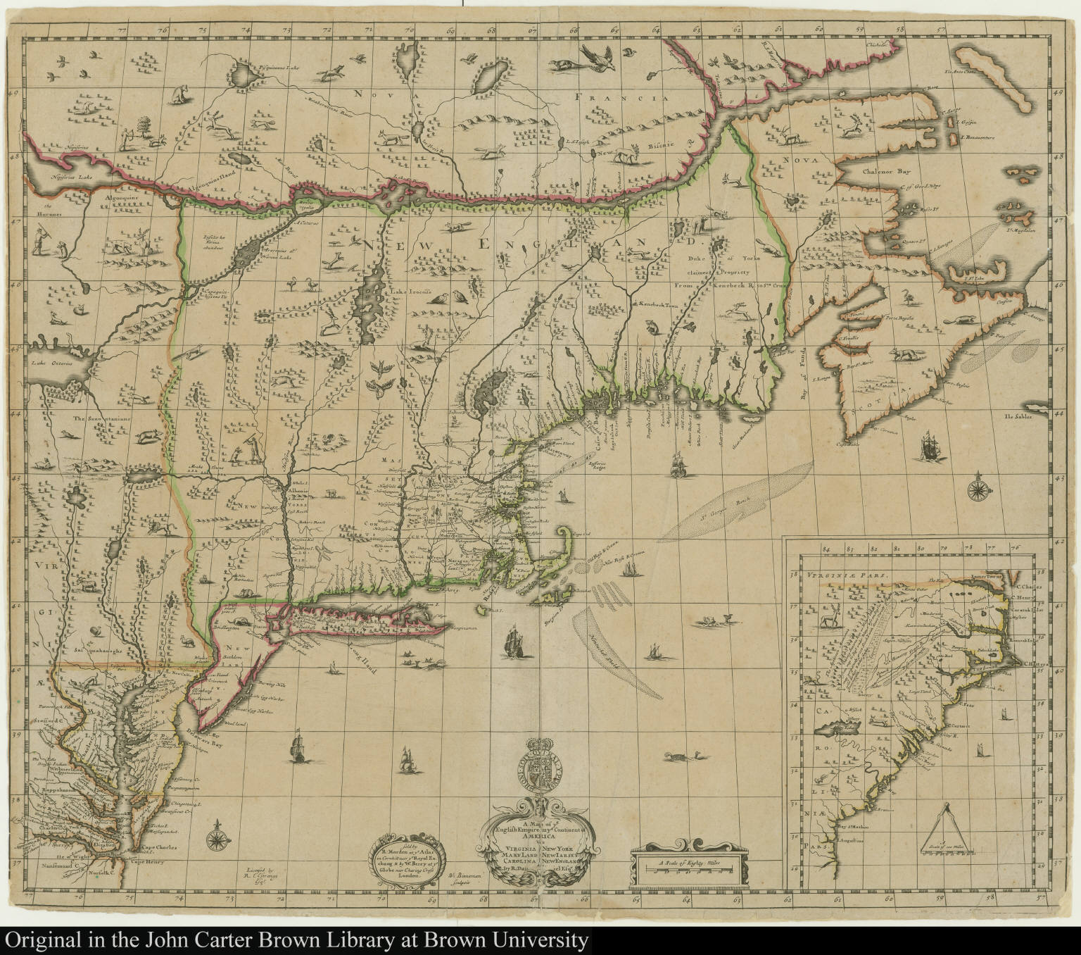A map of ye english empire in ye continent of america viz a map of ye english empire in ye continent of america viz virginia maryland carolina new sciox Gallery