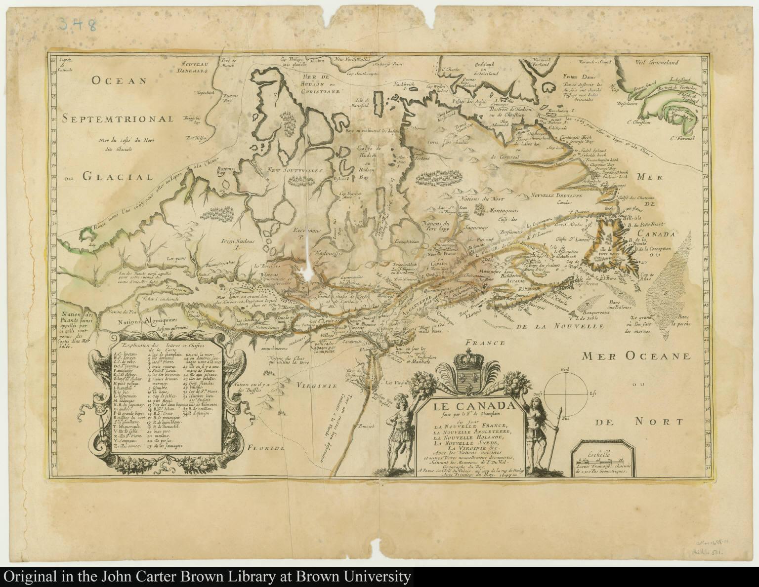 Le Canada faict par le Sr. de Champlain où sont La Nouvelle France, La Nouvelle Angleterre, La Nouvelle Holande, La Nouvelle Svede, La Virginie &c.