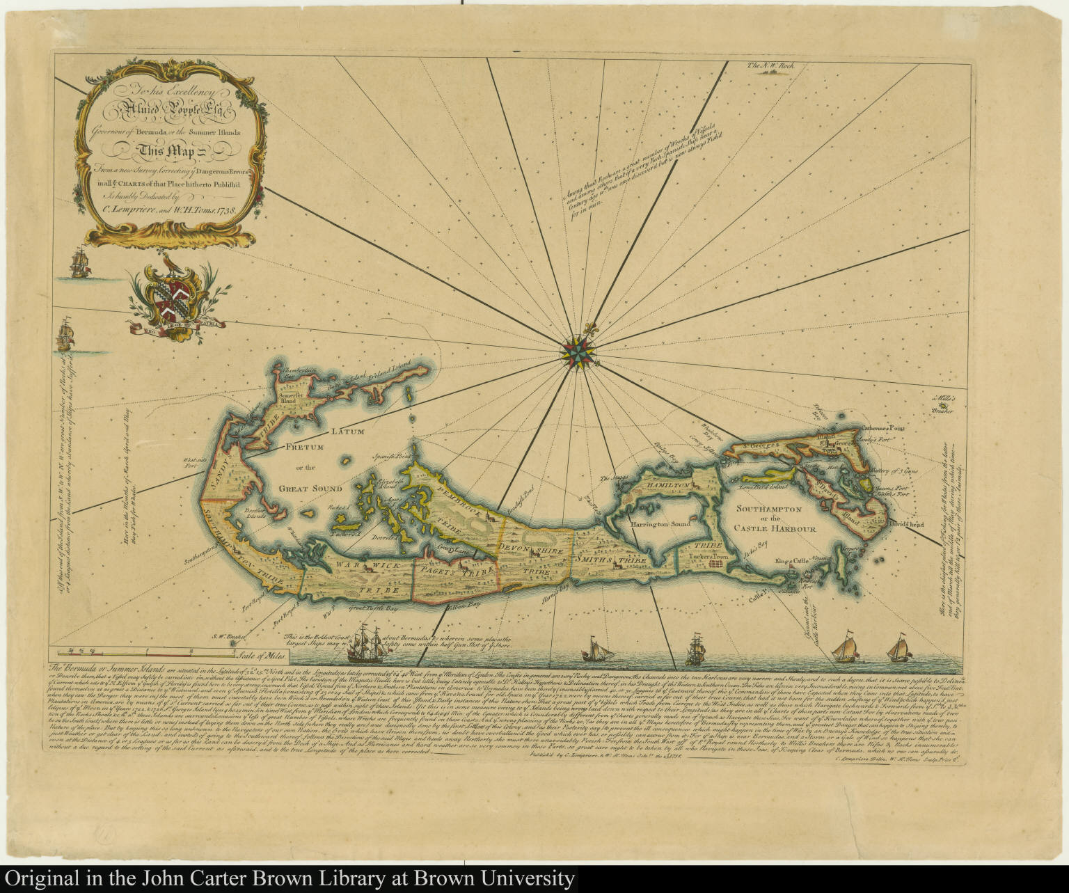 To his Excellency Alured Popple Esq. Governour of Bermuda, or the Summer Islands This Map From a new Survey ...
