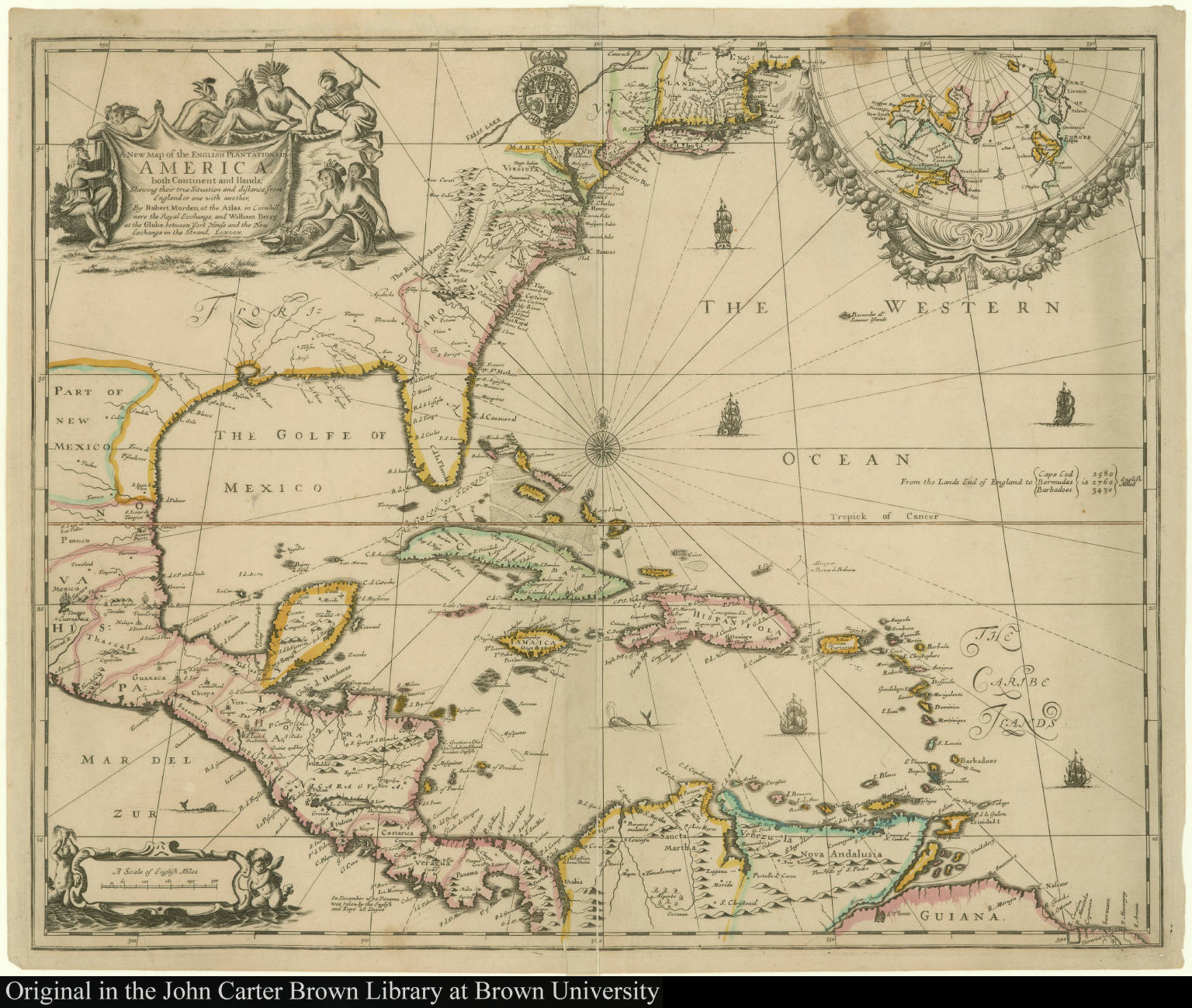 A New Map Of The English Plantations In America Both Continent And