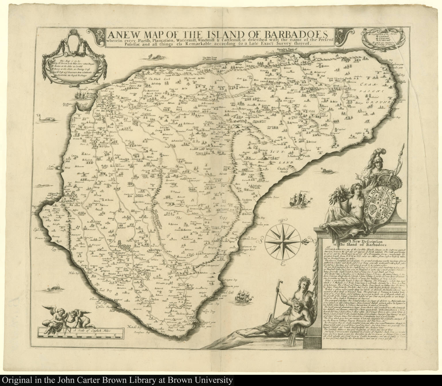 A New Map of the Island of Barbadoes wherein every Parish, Plantation, Watermill, Windmill & Cattlemill, is described ...