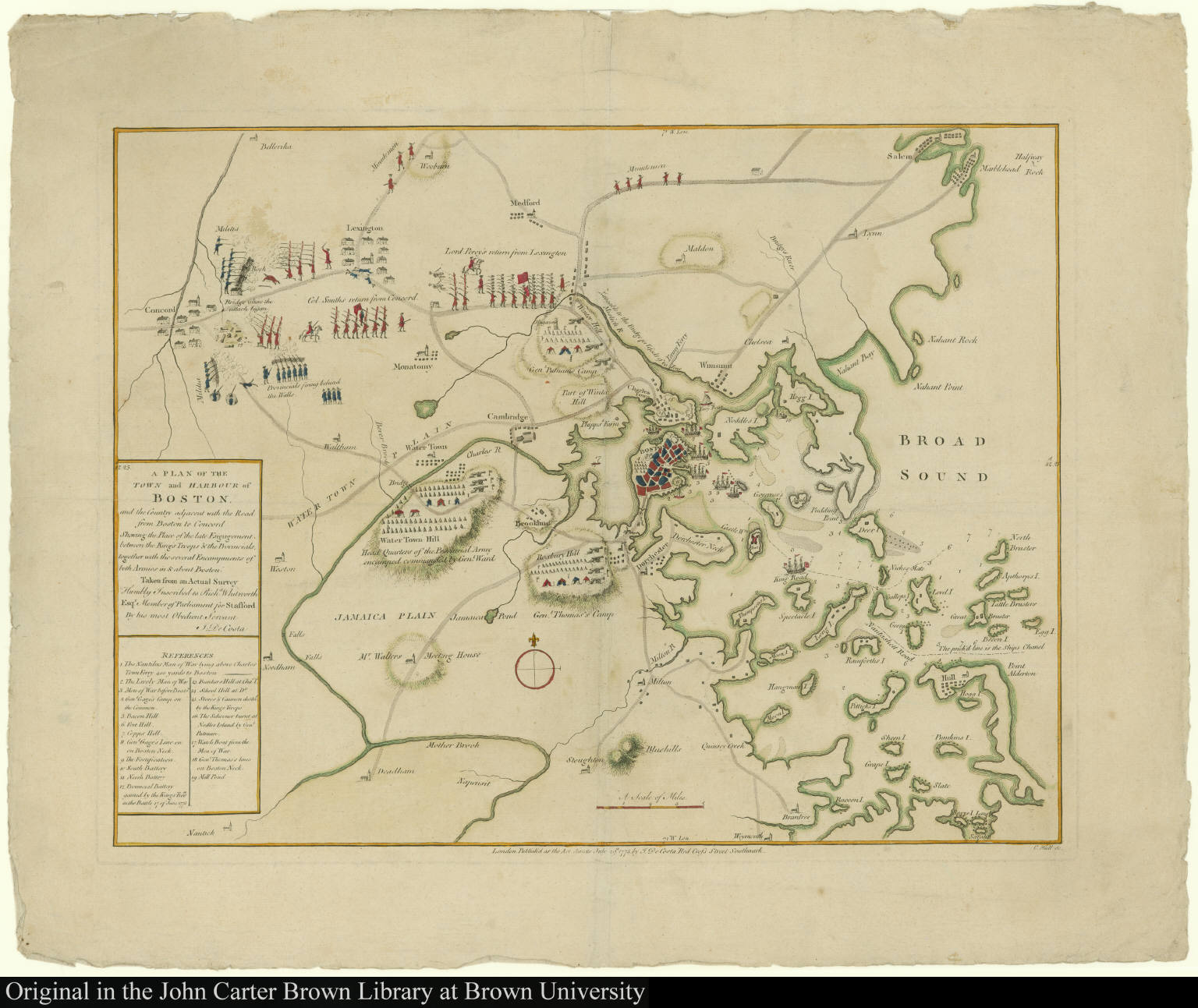 A Plan of the Town and Harbor of Boston and the Country adjacent with the Road from Boston to Concord Showing the Place of the late Engagement between the King's Troops & the Provincials ...