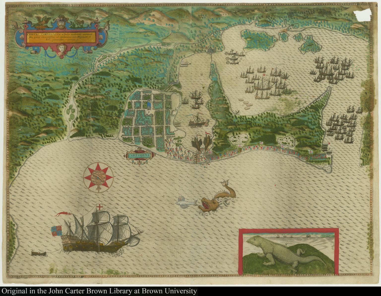 Civitas Carthagena in Indiae occidentalis continente sita, portu commodissimo ad mercaturam inter Hispaniam et Peru exercendam