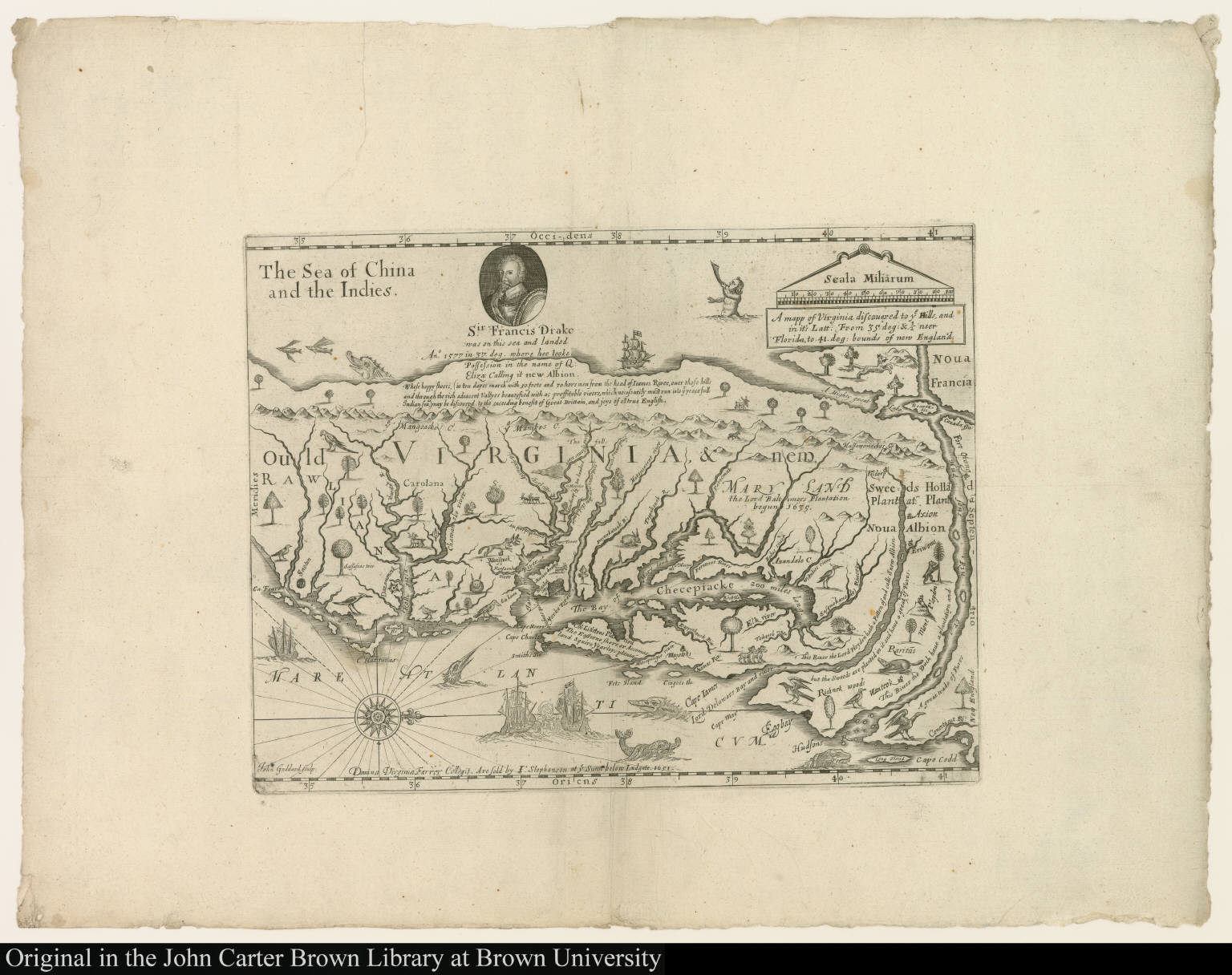 A mapp of Virginia discouered to ye Hills and in its Latt From