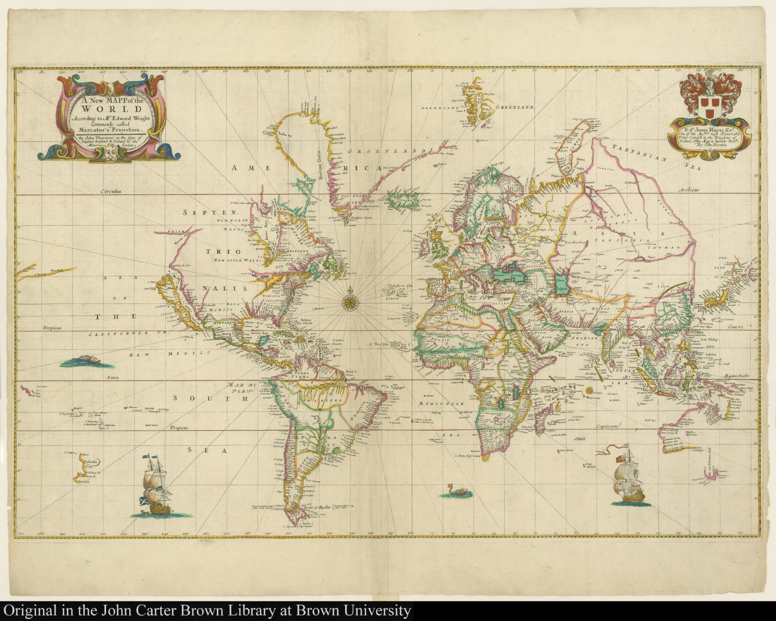 A New Mapp of the World According to Mr. Edward Wright Commonly called Mercator's-Projection.
