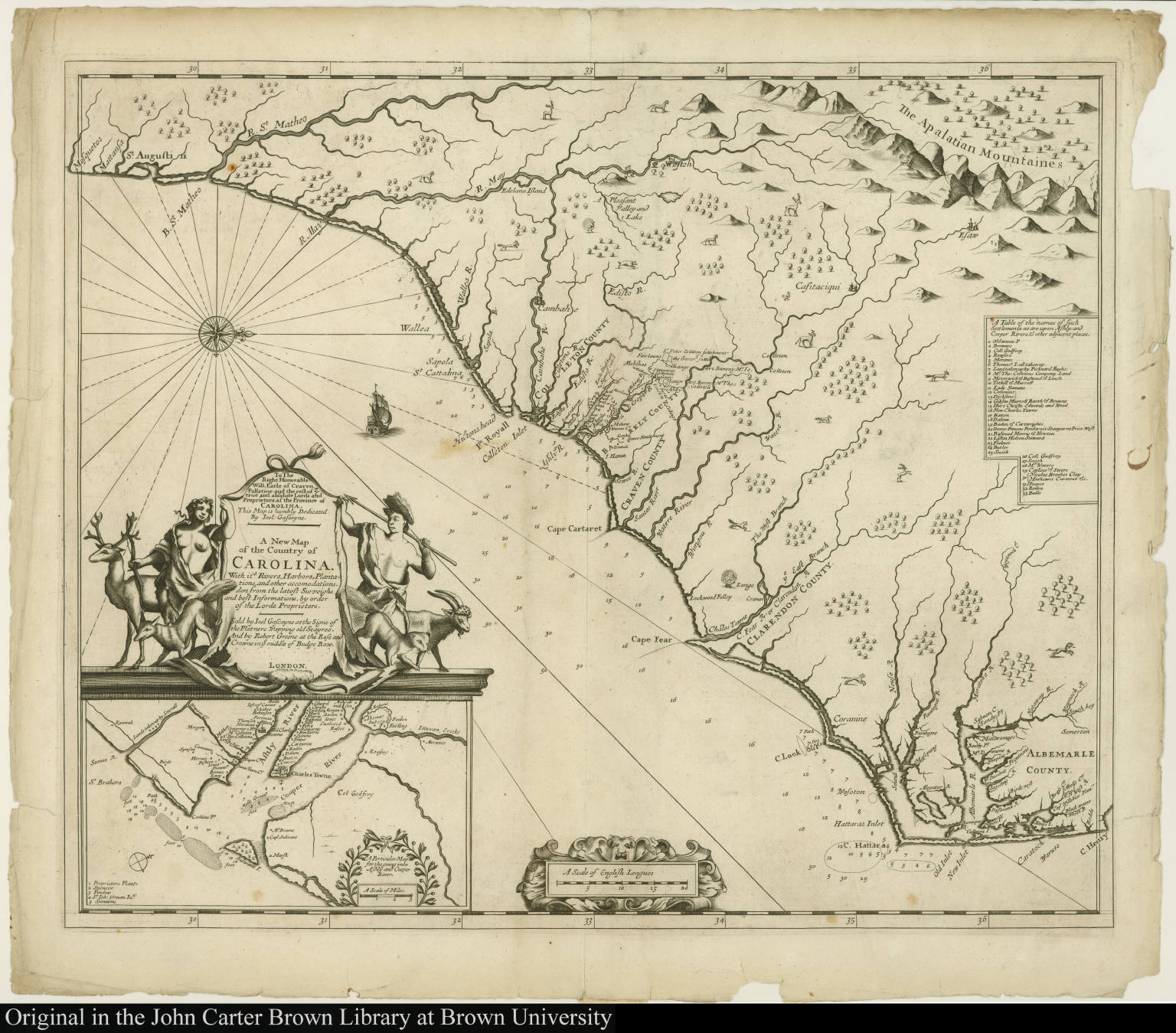 To The Right Honorable Will. Earle of Craven ... A New Map of the Country of Carolina...