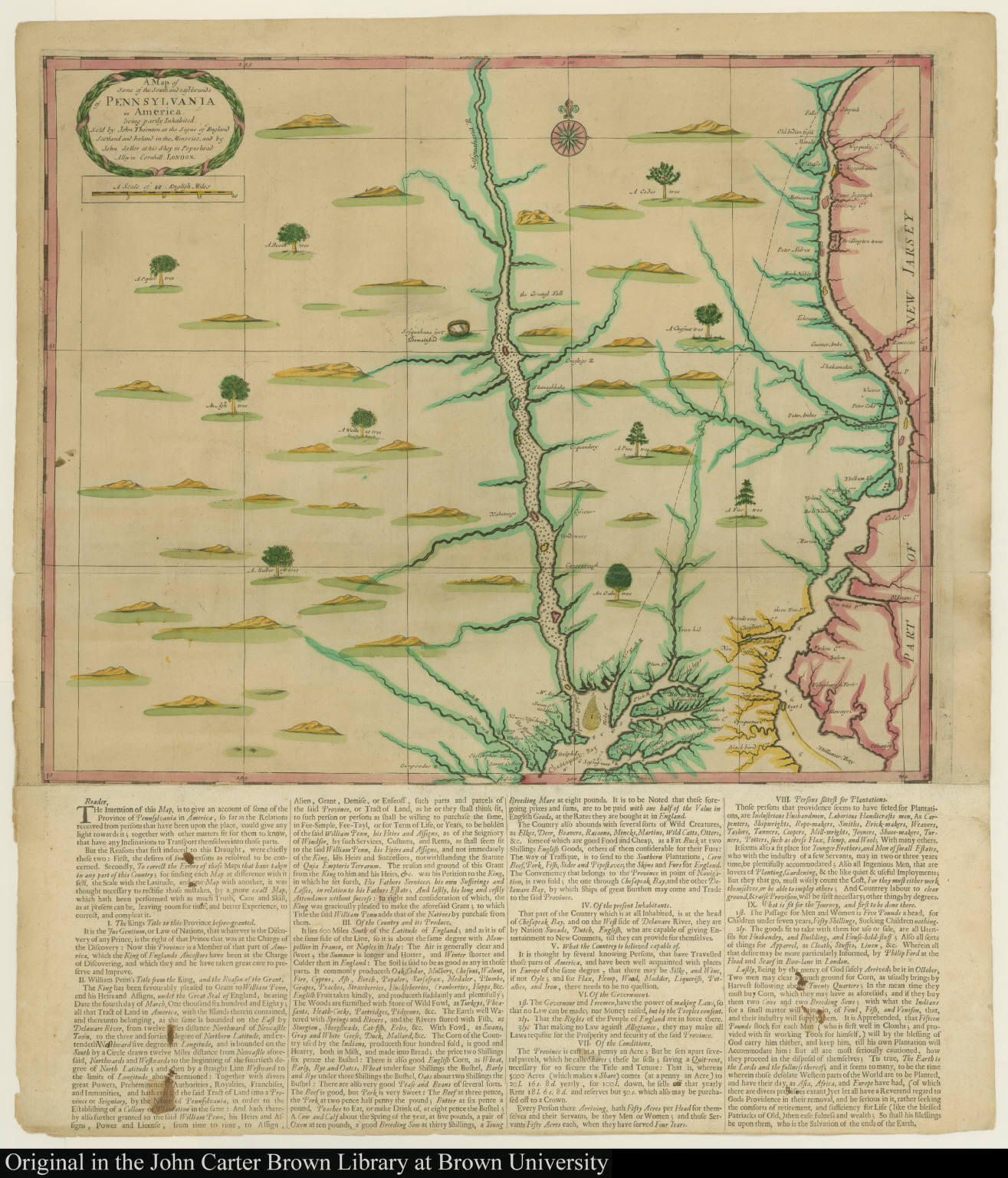 A Map of Some of the South and eastbounds of Pennsylvania in America. being partly Inhabited, ...