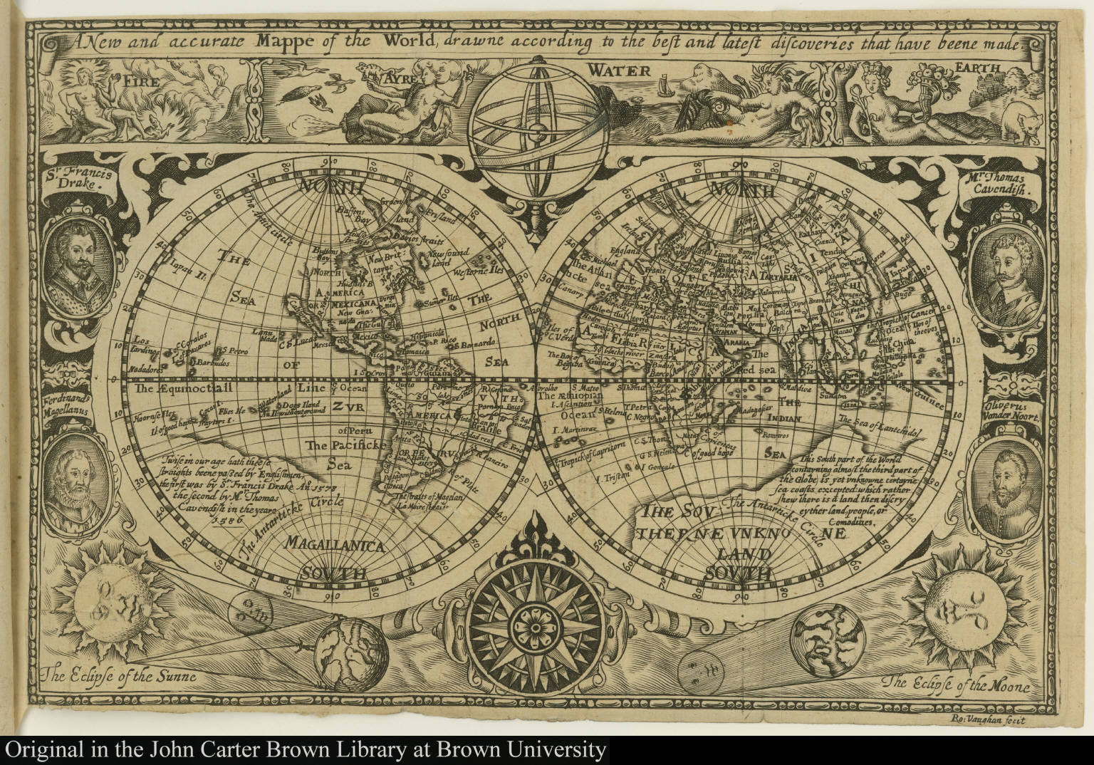 A New and accurate Mappe of the World, drawne according to the best and latest discoveries that have been made.