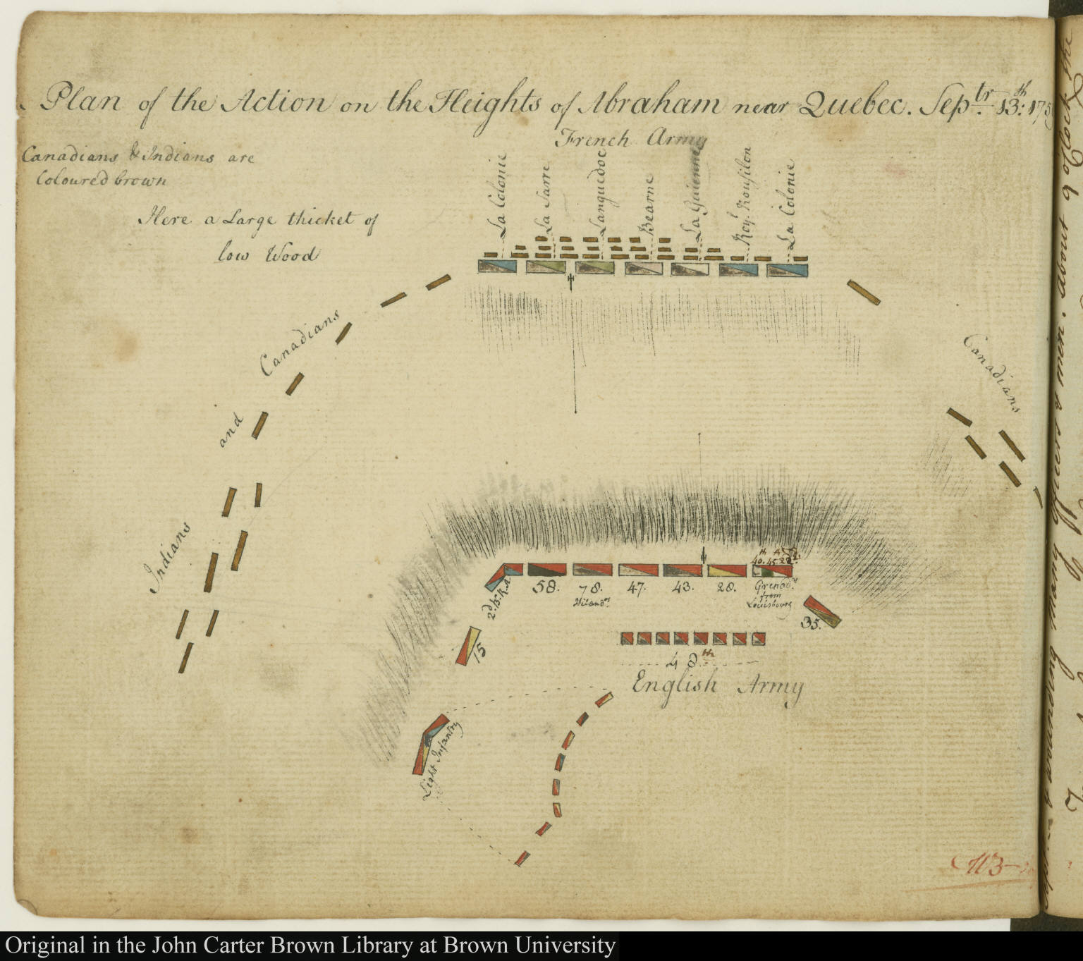 Plan Of The Action On The Heights Of Abraham Near Quebec