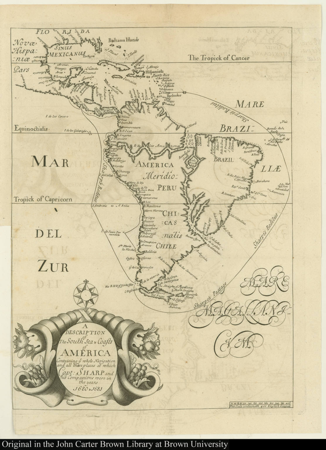 A Description of The South Sea & Coasts of America Containing ye whole Navigation and all those places at which Capt. Sharp and his Companions were in the years 1680 &1681