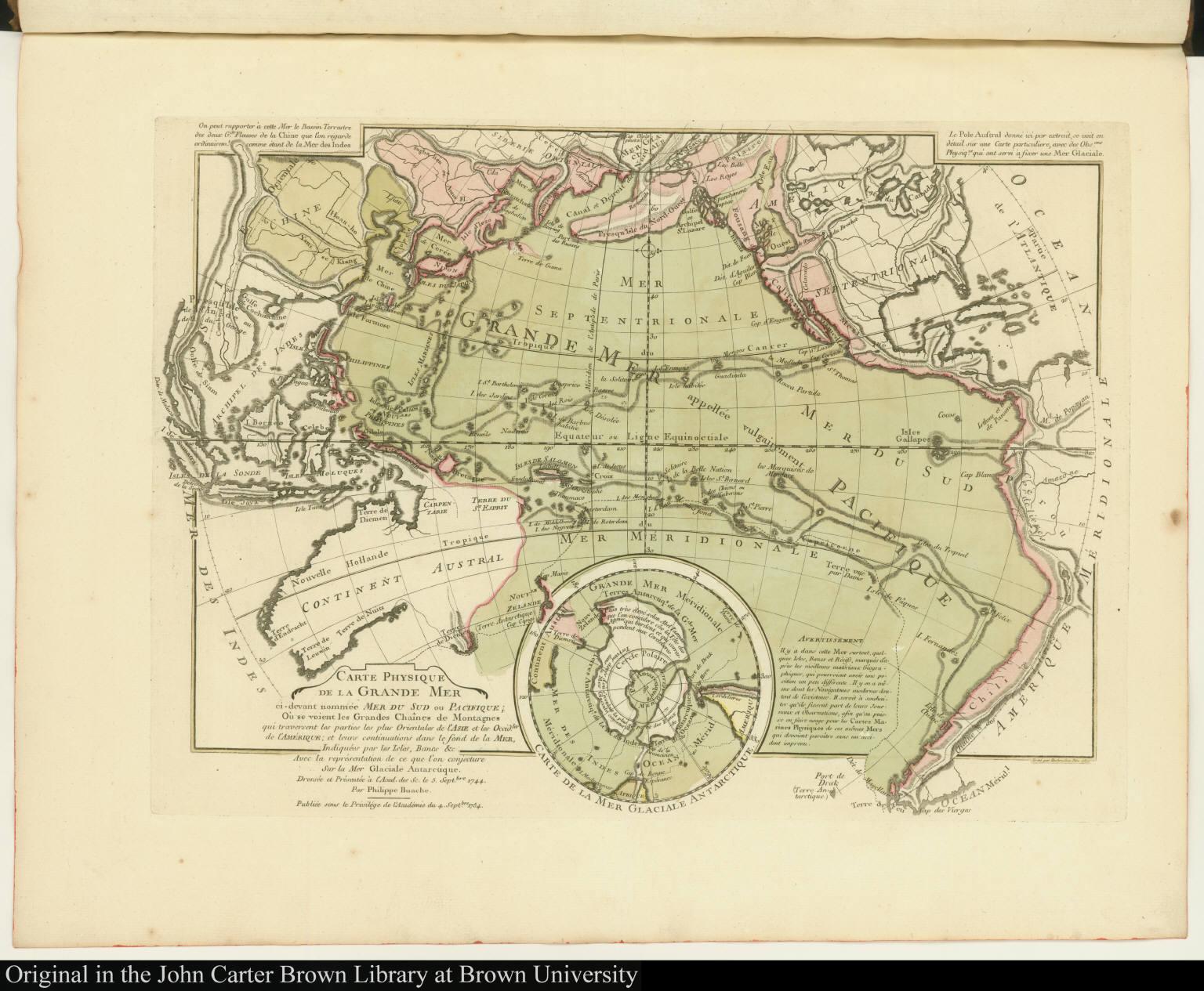Carte Physique de la Grande Mer ci-devant nommée Mer du Sud ou Pacifique ...