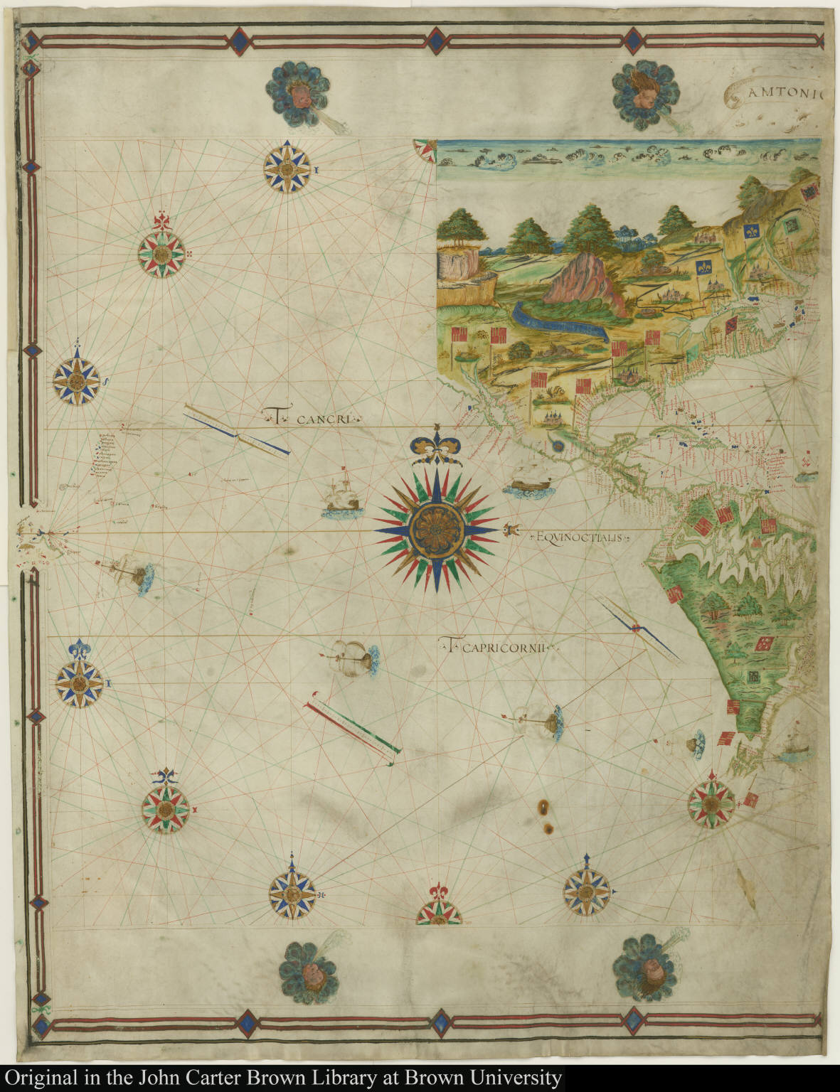[Early representation of Newfoundland, Lower California, the Amazon, and the Ladrones]