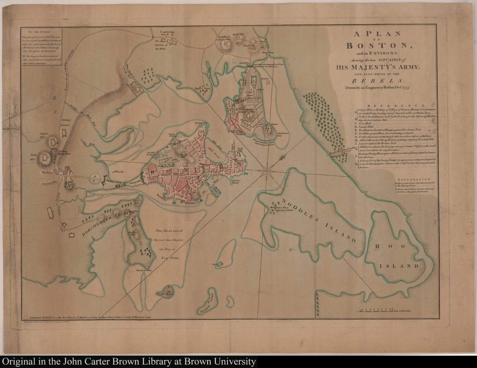 A Plan of Boston, and its Environs. shewing the true situation of His Majesty's Army. and also those of the rebels.