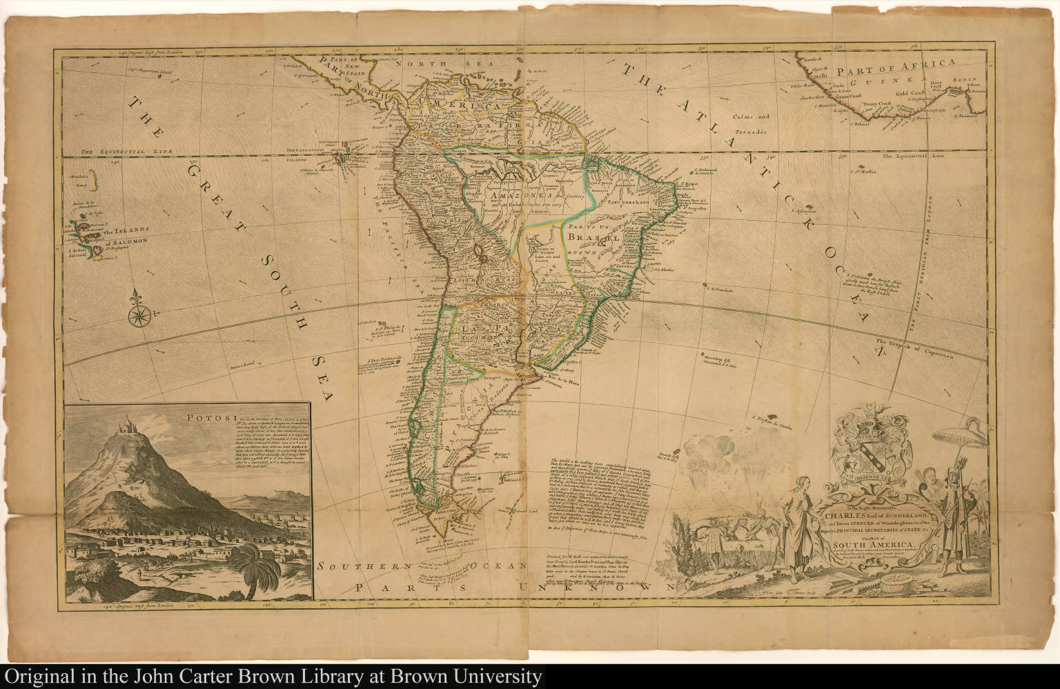 To the Right Honourable Charles Earl of Sunderland, and Baron Spencer ... This map of South America, ...