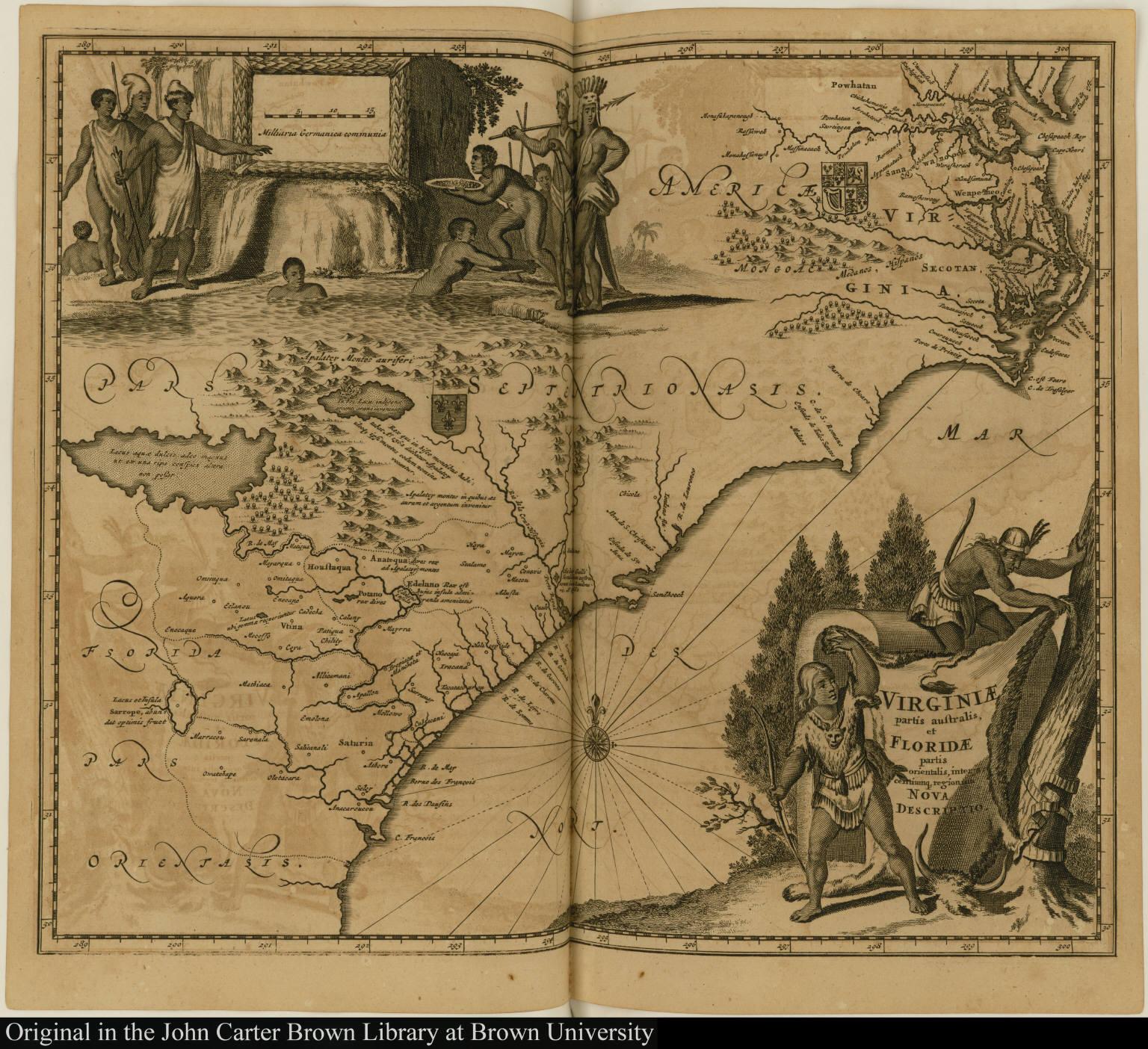 Virginiae partis australis, et Floridae partis orientalis, interjacentiumq, regionum Nova Descriptio.