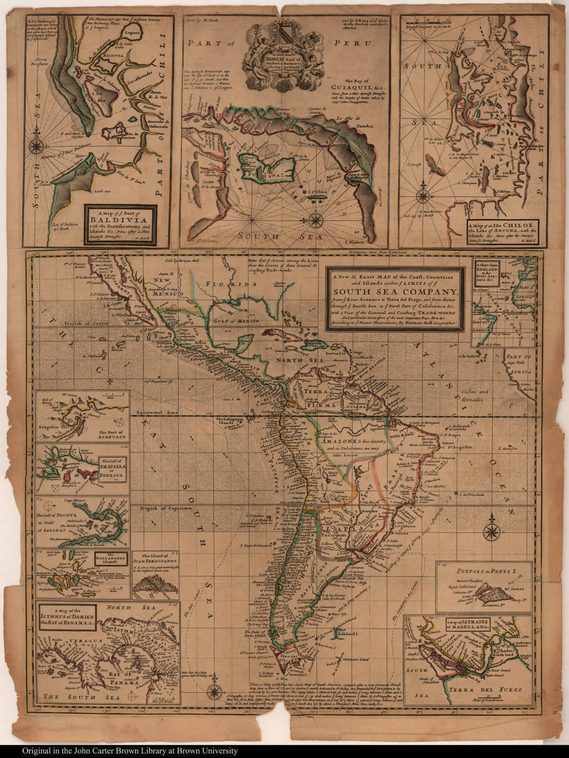 A New & Exact Map of the Coast, Countries and Islands within ye Limits of ye South Sea Company, from ye River Aranoca to Terra del Fuego ...