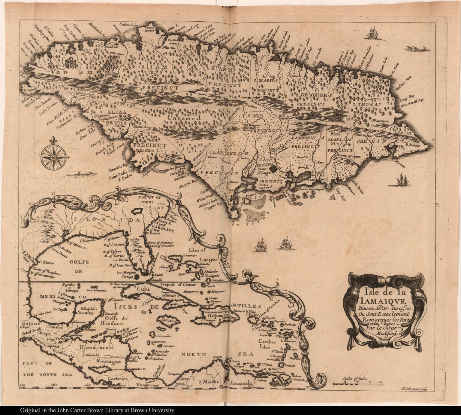 Isle de la Iamaique Divisée Par Paroisses Ou Sont Exactement Remarques les Ports et les Bayes
