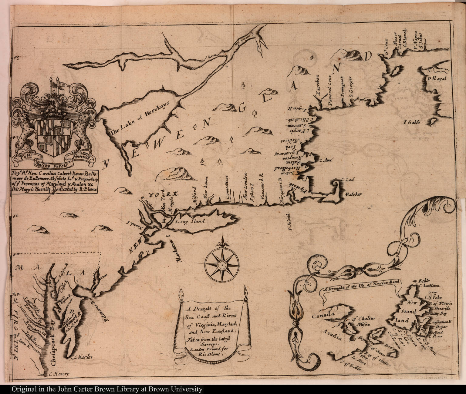 A Draught of the Sea Coast and Rivers, of Virginia, Maryland, and New England, Taken from the latest Surveys.