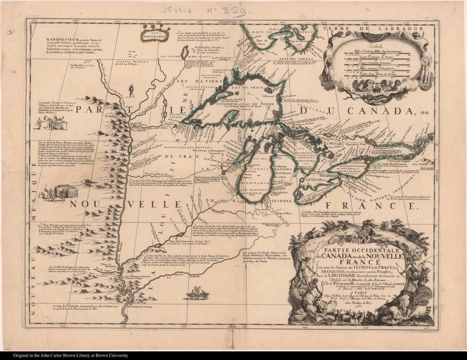 Partie occidentale du Canada ou de la Nouvelle France ou sont les Nations des Ilinois, de Tracy, les Iroquois, et plusieurs autres Peuples ...