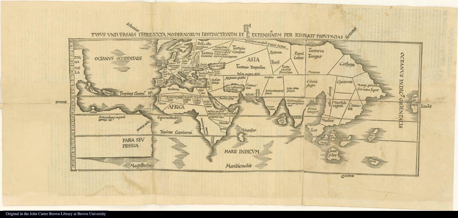 Typus universalis terre juxta modernorum distinctionem et extensionum per regnaet provincias