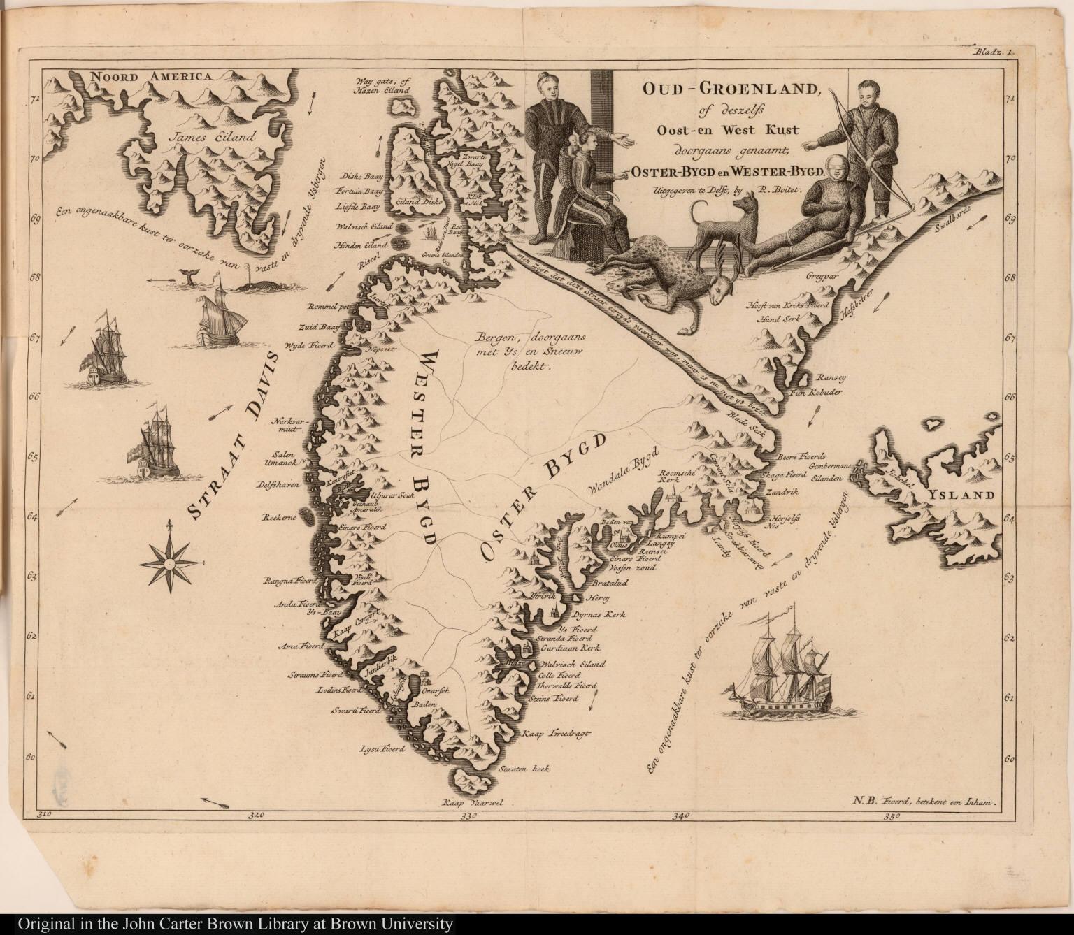 Oud-Groenland, of deszelfs Oost-en West Kust doorgaans genaamt, Oster-Bygd en Wester-Bygd.