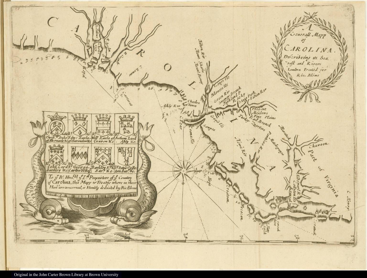 A Generall Mapp of Carolina. Describing its Sea, Coast and Rivers