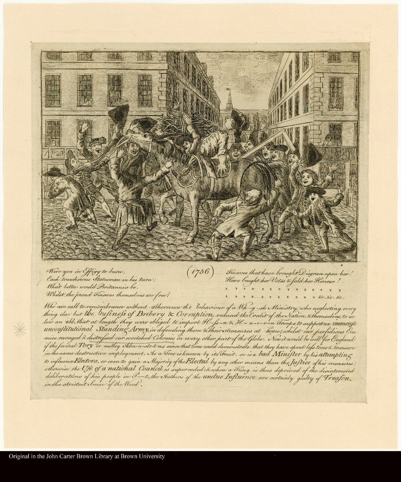 [An effigy of an unpopular minister being led to the gallows on horseback].