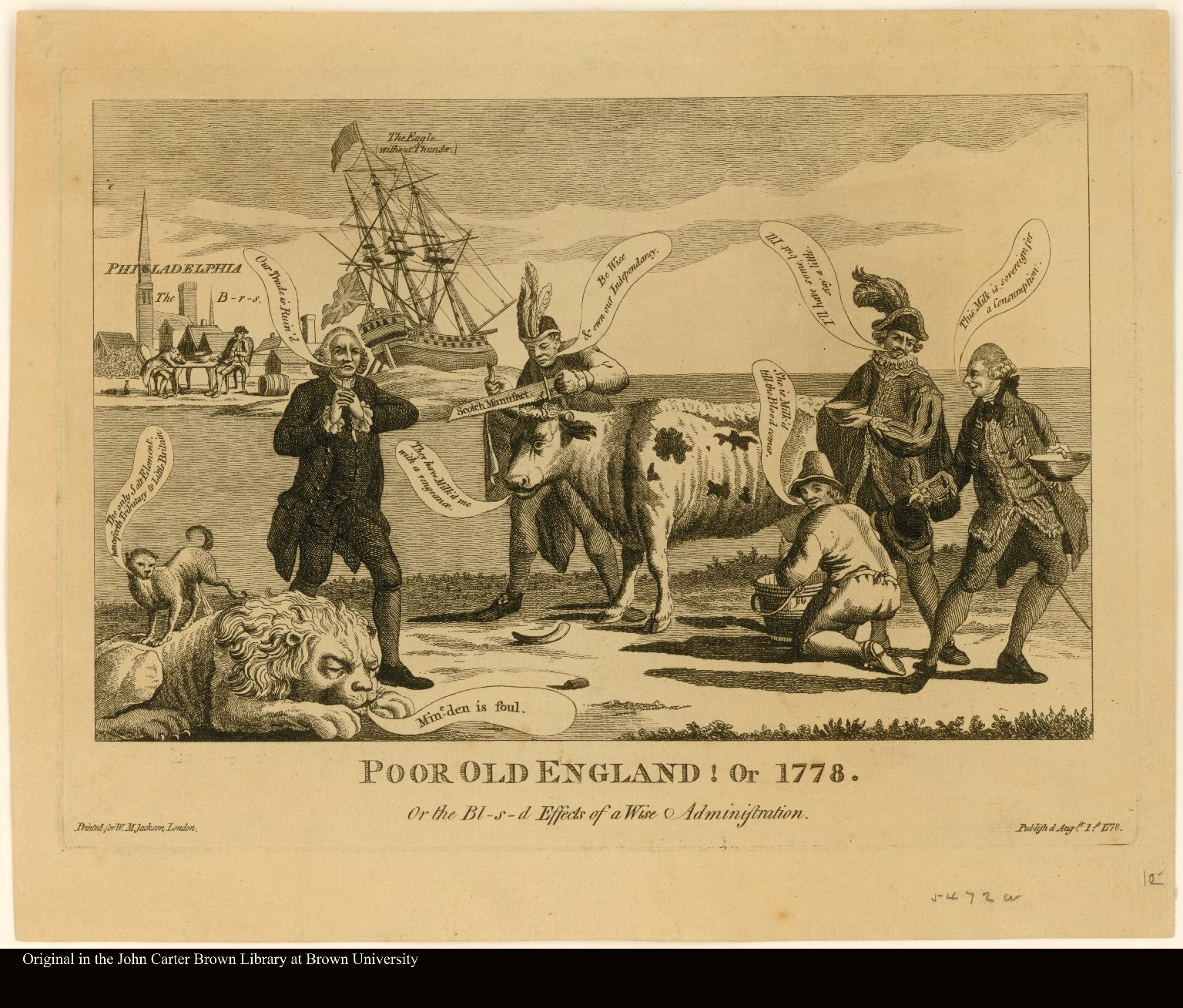 POOR OLD ENGLAND! Or 1778. Or the Bl-s-ed Effects of a Wise Administration